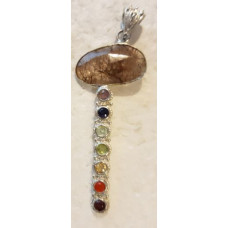 Quartz - Rutilated Stick Chakra Silver Pendant