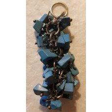 Howlite - Blue Chip Pendant with Metal