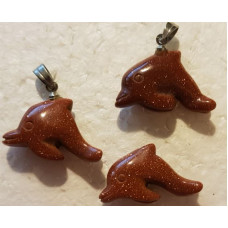 Goldstone - Red Dolphin Pendant