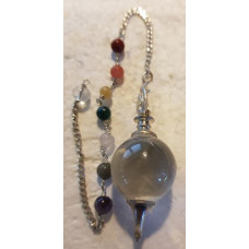 Quartz - Clear with Chakra Chain - Ball Pendulum
