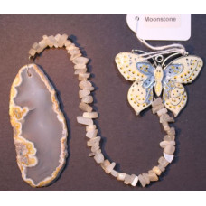 Agate Slice - Butterfly - Rainbow Moonstone