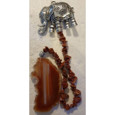 Agate Slice - Elephant - Red Goldstone