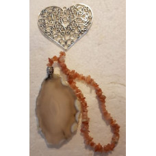 Agate Slice - Heart - Peach Moonstone